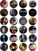 THE VAMPIRE DIARIES 24 EDIBLE WAFER - RICE PAPER CAKE TOPPERS EACH DESIGN IS 40mm IN DIAMETER