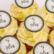 New Year 2016 Clock Cupcake Toppers - PRE-CUT - New Year's Eve Cake Toppers - Edible Wafer - 4cm x 24
