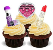 NOVELTY BLING MAKE UP MIX - GLAMOUROUS BIRTHDAY FUN - Standups 12 Edible Standup Premium Wafer Cake Toppers - 2 x A5 sheet - 12 images