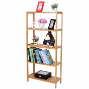 Songmics 5 Tier Bamboo Bathroom Shelf Unit Storage Stand Shelves Shoe Rack 130 x 57 x 27 cm BCB35Y