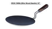 India Bazaar 25cm CONCAVE MS BLACK IRON TAWA WIRE HANDLE / PAN. HEAVY DUTY IRON CREPE PANCAKE CHAPATI ROTI PAN DOSA TAVA PAN CONCAVE TAVA