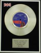 T Rex ( Mark Bolan) - 18cm Platinum Disc -Telegram Sam