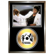 MICHAEL JACKSON - SIGNED FRAMED GOLD CD & PHOTO DISPLAY