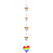Colourful Rainbow String of Hearts Sun Catcher Hanging Home & Garden Mobile
