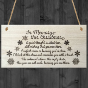 Red Ocean In Memory This Christmas Tree Decoration Xmas Memorial Quote Love Poem Wooden Hanging Plaque Gift Sign