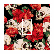 Sticar-it Ltd Tattoo Style Skull & Red Roses Gothic Motif Light Switch Sticker vinyl cover skin decal For any Room