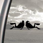 Scuba Diver Dive Couple Black Decal Diving Window Sticker