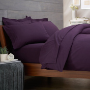 RAYYAN LINEN'S PERCALE PLAIN DYED POLY COTTON AUBERGINE/PURPLE DUVET COVER BED SET SIZE DOUBLE   QUILT COVER BEDDING SET WITH PAIR OF PILLOWCASES