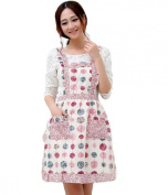 Hyzrz Newly Pastoral Style Fashion Flower Pattern Housewife Home Chef Cooking Cotton Apron Bib with Pockets 2#