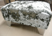footstool/ pouffee in a luxury quality crushed silver velvet..with that shabby chic look it will transform any room in the house