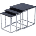 Home Discount Charisma High Gloss Square Nest of Tables in Black - Colour
