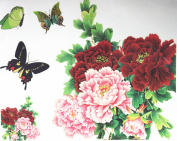 GGSELL GGSELL fashion latest design extra large tattoo for back red and pink peony flowers with colourful butterflies temporary tattoo sticker
