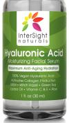 TOP RATED Hyaluronic Acid Serum by InterSight with Vitamin C & E, MSM, Green Tea, Jojoba Oil, Aloe - 100% Pure Hyaluronic Acid - Best Organic and Vegan Anti Ageing Moisturiser Liquid - 1000x Hydration