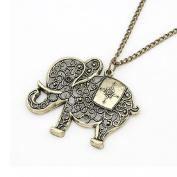 Doinshop Women Girl Pendant Jewellery Retro Bronze Elephant Chain Necklace