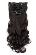 FIRSTLIKE DIY Hair Extensions 43cm 8PCS Clip in Hair Extension Full Head Long Curly Wavy Dark Brown
