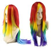 Simpleyourstyle Anime Cosplay Wigs Long Rainbow Colour Straight Wigs for Women