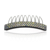 DoubleAccent Hair Jewellery Black Cellulose Based Simulated Crystal Hair Comb,
