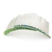DoubleAccent Hair Jewellery Flashes of Simulated Crystal on a Large Hair Bridal Comb, Green