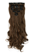 FIRSTLIKE Thick Hair Extensions 8PCS Full Head Long Curly Wavy Clip in on Hair Extension