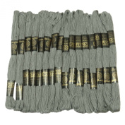25 Pcs Cotton Grey Thread Needlepoint Sewing Stitch Embroidery Cross Floss Skein