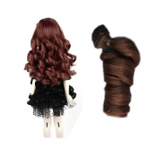 (Brown Colour) 15*100cm BJD/SD Doll DIY Wig Lovely Long Curls Hair,DIY Wigs Hair High-temperature Wire Handmade Curly Doll Wigs Involtini Alla Romana Wig