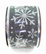 Jo-ann's Holiday Snowflake Ribbon,grey,glitter,wire Edge