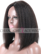 Chantiche® Italian Yaki Short Bob Cuts Human Hair Lace Front Wigs Invisible Middle Part Natural Looking Brazilian Remy Hair Glueless Full Wig For Black Women 36cm #1