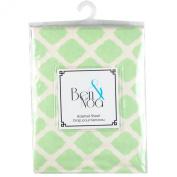 Ben & Noa Fitted Bassinet Sheet Flannel, Green Lattice