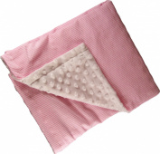 Iddy Kiddy Minky Dot Seersucker Backed Baby Blanket. B1003 Pink