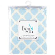 Ben & Noa Fitted Changing Pad Sheet Flannel, Blue Lattice