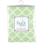 Ben & Noa Fitted Changing Pad Sheet Flannel, Green Lattice