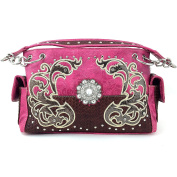 Justin West Western Tooled Rhinestone Concho Flower Embroidery Chain Shoulder Handbag Purse with Concealed Carry and Phone Slot Hot Pink