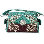 Justin West Western Cowgirl Carved Rhinestone Glitter Floral Concho Shoulder Handbag Turquoise