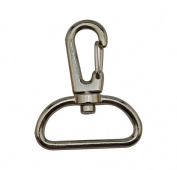 Tianbang Silvery 2.8cm Inside Diameter D Ring Lobster Clasp Claw Swivel Eye Lobster Snap Clasp Hook for Strap Pack of 10