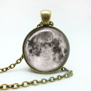 Adecco LLC Full Moon Necklace, Space Picture Pendant, Galaxy Pendant Necklace, Valentine gift for Grilfriend/Boyfriend