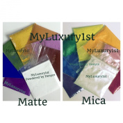 Lot of 16 Two 2 Gramme Shimmering Mica & 8 Matte Combination Cosmetic Cold Hot Process Melt & Pour Cp Hp Mp Burgundy RED Orange Neon Yellow Green Blue Purple White Pink Colourant Pigment Powders 2g