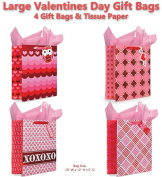 Valentines Day Gift Bags Set of 4 Large Gift Bags w/ Tissue Paper Included