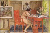 Model (Nude) Writing Postcards : Carl Larsson : Watercolour c1906 : Fine Giclee