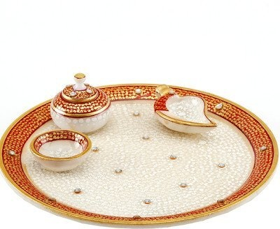 The Hue Cottage Pooja Thali Handcrafted Rajasthan Marvel In Marble Gold  Work Sindur Dani Decorative White Plate Indian Gift Items