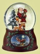 Snow Globes - Woodland Santa with Reindeer Musical Snow Globe - Christmas Decorations - Snowglobe