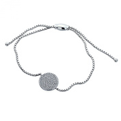 Sterling Silver Rhodium Plated, Round CZ Micro Pave Set Size Adjustable Charm Bracelet