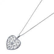 Sterling Silver Rhodium Plated, 80cm Long Chain Round CZ Art Deco Design Heart Pendant Necklace