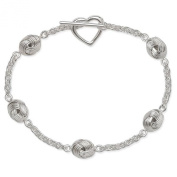 Sterling Silver 925 Knot with Toggle Heart Bracelet 18cm - The Royal Gift