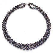 """Sterling Silver 6-11mm Graduated 2-Rows Dyed Black Freshwater Cultured Pearl Necklace, 17"""""""