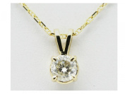 IGI Certified Solitaire REAL diamond 14K Solid Yellow Gold pendant necklace #34