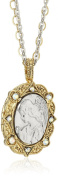 Symbols of Faith 14k Gold-Dipped and Silver-Tone Crystal AB Angel Locket Necklace, 60cm