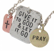"""Lovely Inspirational """"Give It To God"""" Tri-Toned Three Pendant Necklace"""