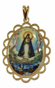 Virgen Caridad Del Cobre Y Los Tres Juanes - Our Lady of Charity Yoruba Pendant 18k Gold Plated Medal with 50cm Chain