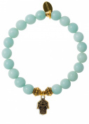EvaDane Natural Semi Precious Amazonite Gemstone Rope Bead Hamsa Charm Stretch Bracelet