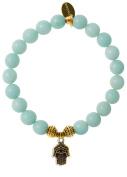 EvaDane Natural Semi Precious Amazonite Gemstone Tibetan Bead Hamsa Charm Stretch Bracelet